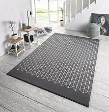Designer Velours Teppich Twist Grau Creme,