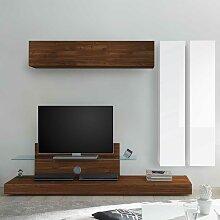 Designer Wohnwand in Nussbaumfarben und Weiß