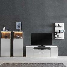 Designer Wohnwand in Weiß und mit Recyclingholz