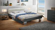 Designerbett Foggia, 140x200 cm, anthrazit