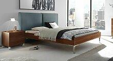 Designerbett Vilmars, 140x200 cm, Nussbaum natur