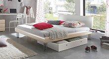 Designerbett Wereda, 90x190 cm, weiß