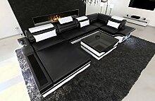 Designercouch Mezzo U-Form Wohnlandschaft mit LED schwarz - weiss