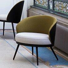 Designersessel in Khaki Webstoff Sitzfläche in