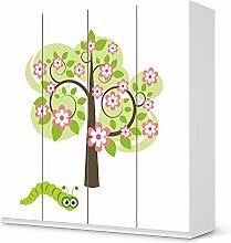Designfolie IKEA Pax Schrank 201 cm Höhe - 4 Türen selbstklebend Design Blooming Tree (Kids) Dekofolie Selbstklebefolie Kleiderschrank Kinderzimmer