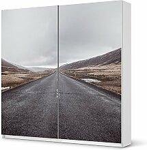 Designfolie IKEA Pax Schrank 201 cm Höhe - Schiebetür selbstklebend Design The Road (Natur) Dekofolie Klebefolie Kleiderschrank Schlafzimmer