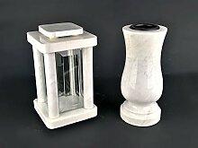 designgrab Modern Grablampe mit Vase aus Carrara