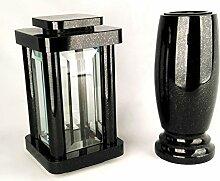 designgrab Modern Grablampe mit Vase aus Granit
