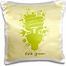 Designs Floral and Nature Designs - Think Green Earth Day Conserve Energy Eco-Friendly Light Bulb Design - 16x16 inch Pillow Case