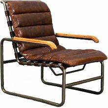 Designsessel New Brunswick Stahlrohr Vintage Leder Echtleder Sessel