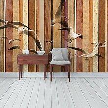 Designtapete Vliestapete Premium Seemöwen Holz