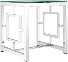 Designtisch mit Klarglasplatte 4-Fußgestell aus