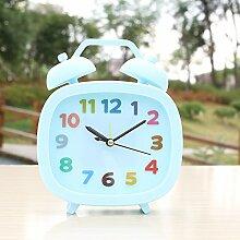 Desk decoration Der Leiter der Mute stereo Clock kreative Square minimalistischen idyllische digital Studenten faule Menschen kleine Alarm, Blue Square alarm