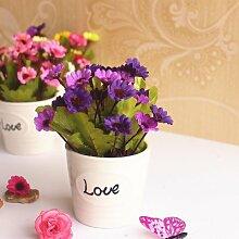 Desktop kleine Topfpflanzen emulation Blume Kunststoff eingerichtet Hochzeit Geschenke Regal, rote Liebe Cup Ju Lila