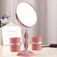 desktop kosmetikspiegel, doppelte wende spiegel, tragbare hochzeit spiegel dreimal unter die lupe spiegel.,doppelläufige spiegel pink