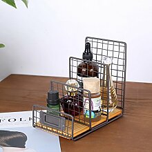 Desktop-speicher-rack, Datei-racks Zeitschriftenhalter Eisen Cd Retro Kreativ Dekoration Für haushalt und büro Braun-braun A 16x10x15cm(6x4x6inch)
