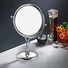 Desktop Spiegel Kupfer und Silber im europäischen Stil mit Kosmetikspiegel und doppelseitige drei Mal Lupe Make-up-Spiegel Spiegel 8 Zoll