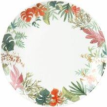 Dessertteller aus weißem Porzellan mit floralem