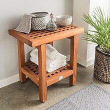 DESTINY Beistelltisch Gelocht Badezimmer Regal Tisch Teak Teaktisch 45 x 45 x 30 Lochmuster