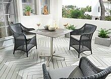 Destiny Gartenset Sevilla Sessel schwarz mit Loft Tisch Geflechtsessel Gartensessel Gartentisch HPL Platte