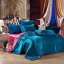 DESY Einfarbig 4er Seide Bettdecke Bettwäsche, Seide Bettwäsche, weich und bequem , 2 , twin