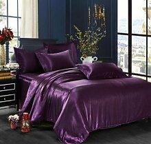 DESY Einfarbig 4er Seide Bettdecke Bettwäsche, Seide Bettwäsche, weich und bequem , 5 , king