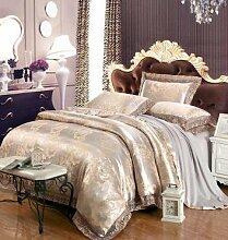 DESY Europäische Satin Jacquard-Spitze vierteiligen Satz, Baumwolle Baumwolle Hochzeit Bettwäsche, Luxus Bett vier Sets , 4 , king