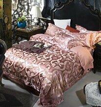 DESY Hochzeit 4pcs Bettwäscheabdeckungen, im europäischen Stil Bettwäsche Quilt Seide, nackte Baumwolle 4pcs Textilien , 2 , king