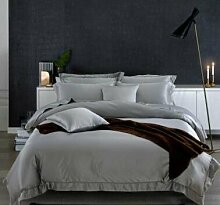 DESY Weiche Seide 4pcs Bettwäsche-Sets, einfache reine Farbe Bettdecke, Bettwäsche, bequeme Seide Textilien , A , queen