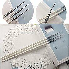 Detail Bürste–3Stück Nail Art Acryl Gel UV Pinsel Malen, Striping Design Zeichnen Tipps Dekoration Pen DIY Set Werkzeug–dünn Nail Art Pinsel