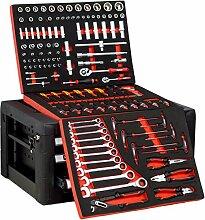 DeTec. Werkzeugkiste 3 Schubladen gefüllt mit 129