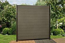 DeToWood 14,4 Lfm. WPC Zaun Sichtschutzzaun, mit