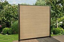 DeToWood WPC Zaun,180 x 180 cm, Sichtschutzzaun,