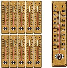 Deuba 10 x Holzthermometer Set Zimmerthermometer