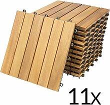 Deuba 11x Holzfliesen Akazie FSC®-zertifiziertes