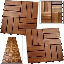 Deuba 11x Holzfliesen Akazie Mosaik | 1m² Fliese