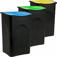 Deuba 3X 50 L Mülleimer mit Klappdeckel