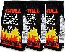 Deuba 9 Kg Grillbriketts | 3 x 3kg | Holzkohle
