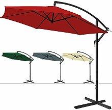 Deuba® Alu Ampelschirm Ø 300cm • rot • mit Kurbelvorrichtung • Aluminium • wasserabweisende Bespannung - Sonnenschirm Schirm Gartenschirm Marktschirm