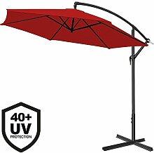 Deuba Alu Ampelschirm Ø 300cm • rot • mit Kurbelvorrichtung • UV-Schutz 40+ • Aluminium • wasserabweisende Bespannung - Sonnenschirm Schirm Gartenschirm Marktschirm