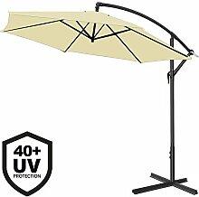 Deuba® Alu Ampelschirm Ø 300cm ✔creme ✔mit Kurbelvorrichtung ✔UV-Schutz 40+ ✔Aluminium ✔wasserabweisende Bespannung - Sonnenschirm Schirm Gartenschirm Marktschirm