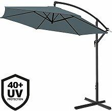 Deuba® Alu Ampelschirm Ø 350cm • anthrazit • mit Kurbelvorrichtung • UV-Schutz 40+ • Aluminium • wasserabweisende Bespannung - Sonnenschirm Schirm Gartenschirm Marktschirm