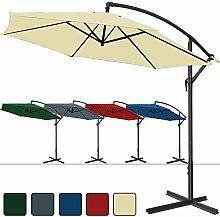 Deuba® Alu Ampelschirm Ø 350cm • blau • mit Kurbelvorrichtung • Aluminium • wasserabweisende Bespannung - Sonnenschirm Schirm Gartenschirm Marktschirm