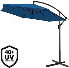 Deuba® Alu Ampelschirm Ø 350cm • blau • mit Kurbelvorrichtung • UV-Schutz 40+ • Aluminium • wasserabweisende Bespannung - Sonnenschirm Schirm Gartenschirm Marktschirm