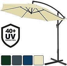 Deuba® Alu Ampelschirm Ø 350cm • creme • mit Kurbelvorrichtung • UV-Schutz 40+ • Aluminium • wasserabweisende Bespannung - Sonnenschirm Schirm Gartenschirm Marktschirm