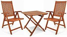 Deuba Balkonset 3-TLG Holz 2X Klappstuhl + 1 Tisch