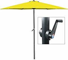 Deuba Kurbelsonnenschirm • Aluminium • Ø300cm • inkl. Kurbel + Dachhaube • mit Neigevorrichtung • gelb - Sonnenschirm Marktschirm Gartenschirm