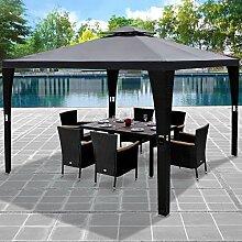 Deuba® Pavillon 3x3m Anthrazit Polyrattan Festzelt Partyzelt Garten Gartenzelt Zelt Gartenpavillon ✔ Sonnendach ✔ Modellauswahl
