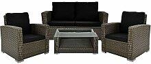 Deuba Poly Rattan Lounge Set Grau I 7cm Dicke