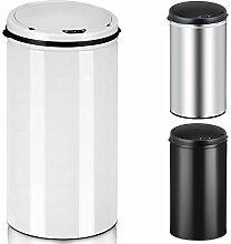 Deuba Sensor Mülleimer 30L Abfalleimer Automatik Müllbehälter Abfallbehälter Edelstahl Papierkorb mit Bewegungssensor weiß